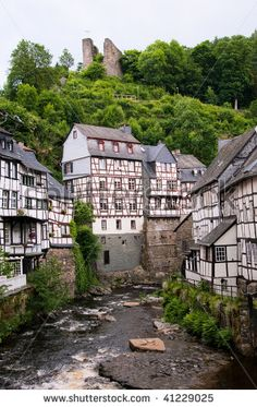 stock photo : Old European town. Monschau, Germany