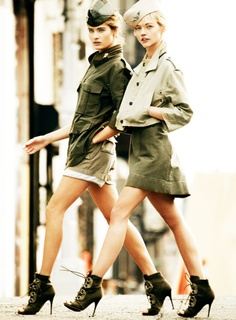 Army look - shoes are great other than the open toe, jarring given the theme.