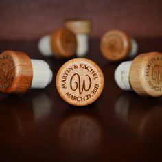Wedding Wine Stopper Names and Date with Monogram or Intertwined Hearts