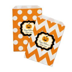 "Classic Halloween Chevron & Dots Personalized Goodie Bags. Halloween Treat Bags make your goodies fit for a spooktacular night of tricks & treats! Our Halloween favor bags are the spookiest and most versatile bags on the market for any Halloween bash. Whether you're filling them with popcorn, candy, or other goodies, these bags also make the perfect embellishment for your freaky party. You can also lay them out at a candy buffet table for a decorative ""pack your own"" goody bag. Due to the..."