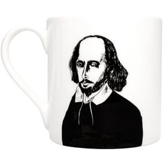 Chá com Letras - William Shakespeare Mug (€18) ❤ liked on Polyvore featuring home, kitchen & dining, drinkware, drinks, filler, kitchen, quote mugs, bone china and skull mug