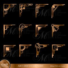 Bronze ART DECO CORNERS Clipart Digital Clip Art, Instant Download, Vintage Design Elements Antique Borders Clip Art