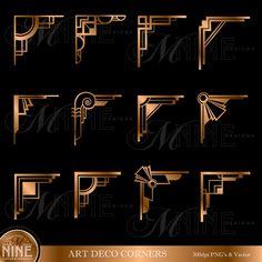 Bronze ART DECO CORNERS Clipart Digital Clip Art, Instant Download, Vintage Design Elements Antique Borders Clip Art