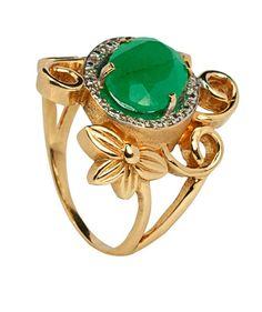 Anel em Ouro, Nefrita e Diamantes - JOIAS