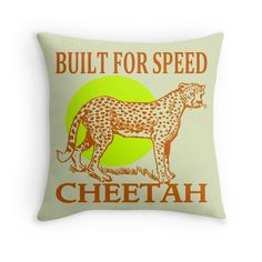 """CHEETAH-AFRICA"" Throw Pillows by IMPACTEES | Redbubble"