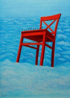 Roter Stuhl Hommage an diesen Neuware  direkt vom Künstler auf Leinwand