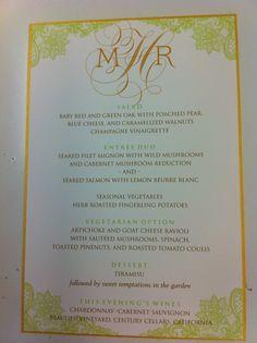 Pretty for a garden wedding #wedding #menu