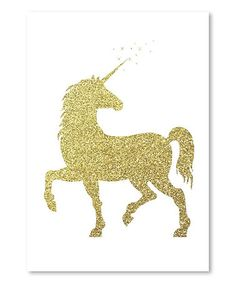 Another great find on #zulily! Gold Glitter Unicorn Wrapped Canvas & Print #zulilyfinds