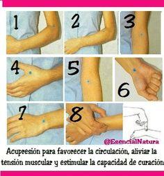 Acupresion para favorecer la circulación, aliviar la tensión muscular y estimular la capacidad de curación