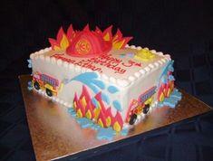 Firefighter Birthday Cakes, Fireman Birthday, Fireman Party, Fire Engine Cake, Fire Fighter Cake, Fire Cake, Truck Cakes, Birthday Parties, Birthday Ideas
