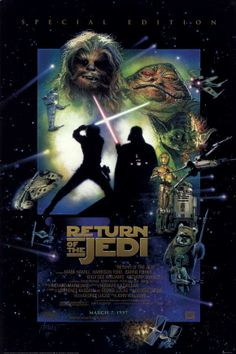 Return of the Jedi (1983).  Classic Star Wars styled movie poster work on this one. Truly iconic movie images
