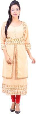 Fuchisa Creation Printed Women's Straight Kurta - Buy Beige, White,Orange,Yellow Fuchisa Creation Printed Women's Straight Kurta Online at Best Prices in India | Flipkart.com