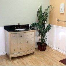 Bath> Vanities: 36 in Single sink vanity-wood-dark walnut