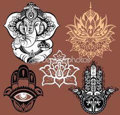 Декоративного слона и мандалы — стоковая иллюстрация #106933138