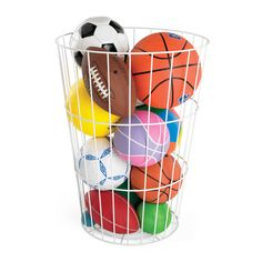 Container Store: Our large-capacity Toy Barrel is constructed of rust-resistant, vinyl-coated steel. It's a champion solution for storing sports gear and toys or for collecting laundry.