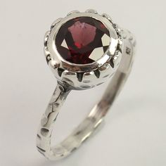 Natural GARNET January Birth Gemstone 925 Sterling Silver Elegant Ring Size US 7 #Unbranded