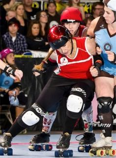 """May 2012: Assaultin' Pepa: """"I am known for pushing other players around on the track. Rather than going for a big hit myself, Iwould rather push my teammate into someone. But I do like a good jammer take-out once in a while too."""" (Photo credit: Joe Rollerfan)"""