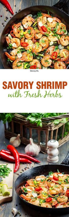 This Savory Shrimp with Fresh Herbs dish offers a no-fuss dinner option that will please the whole family. Smart Points: 4 #cleaneating #healthyeats