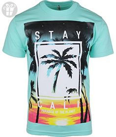 1787949f6a Aqua Stay Cali Mens T Shirt Paradise of the Planet S ( Amazon Partner-