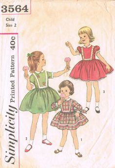Simplicity 3564  Vintage 1950s Sewing Pattern  Child Size 2