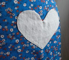 Blue Floral Child's or Cocktail sized Cafe Apron made from recycled and vintage fabrics. $15.00, via Etsy.