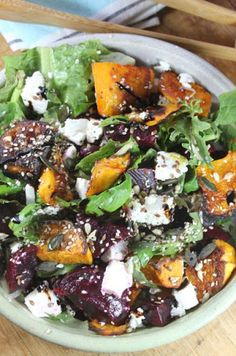 Lush Winter Salad With Butternut, Olive Oil, Salt, Pepper, Cooked Beetroot, Spring Onions, Salad Greens, Basil Leaves, Feta Cheese, Seeds, Parmesan Cheese, Olive Oil, Balsamic Reduction