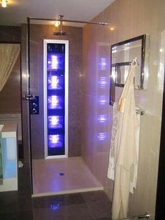 Tanning lights in the shower                              kill two birds with one stone!! I would die to have this