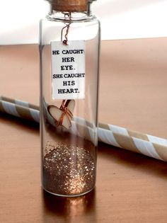 "Modern Message in a bottle! ""She/He caught his/her heart"" Perfect shower or wedding favor by HEIDIandLilC on Etsy"
