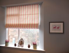 Roman Blind in Clarke & Clarke Deckchair Stripe fabric in pink & sage. Pink Green Bedrooms, Big Girl Bedrooms, Bedroom Green, Girls Bedroom, Roman Blinds, Striped Fabrics, Pink And Green, Sage, Curtains
