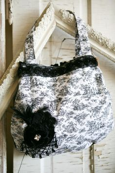 Black and White Toile Handmade Handbag by VintageGardensKS on Etsy