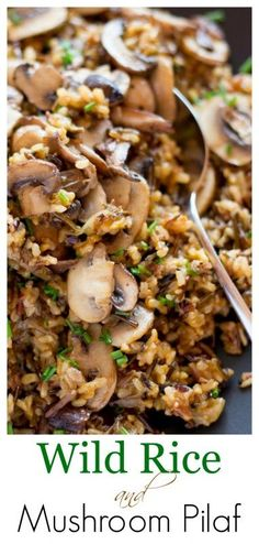 Rice and Mushroom Pilaf -An easy and delicious make-ahead side dish. Loaded Wild Rice and Mushroom Pilaf -An easy and delicious make-ahead side dish. -Wild Rice and Mushroom Pilaf -An easy and delicious make-ahead side dish. Wild Rice Recipes, New Recipes, Vegetarian Recipes, Cooking Recipes, Healthy Recipes, Potato Recipes, Water Recipes, Dairy Free Rice Recipes, Grilling Recipes