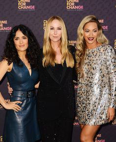 "Co-founders Salma Hayek Pinault, Creative Director of Gucci, Frida Giannini, and singer Beyoncé pose backstage at the ""Chime For Change: The Sound of Change Live"" Concert at Twickenham Stadium, June 2013 in London, England.  Chime For Change is a global campaign for girls' and women's empowerment founded by Gucci with a founding committee comprised of Frida Giannini, Salma Hayek Pinault, and Beyoncé Knowles-Carter."
