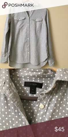 Jcrew button down Grey dot Jcrew button down. Only worn once. No trades. J. Crew Tops Blouses