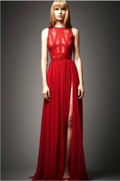 Long red slit dress.  -  I would love this with an updo. Just perfect!