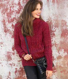 Красный свитер с рельефным узором - схема вязания спицами. Вяжем Свитеры на Verena.ru