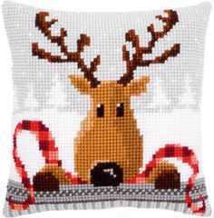 Reindeer With A Red Scarf Cushion Christmas Needlepoint Kit