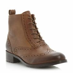 BERTIE LADIES Brown PERON - Leather Brogue Ankle Boot | Dune Shoes Online