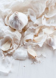 White Textures - garlic cloves & delicate pale skins; organic inspirations for design