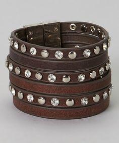 Silver & Brown Faux Wrap Bracelet