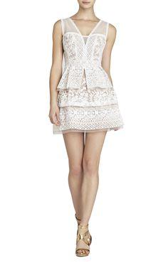 Fola V-Neck Lace Tiered Dress