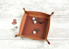 Dice Tray in vegtan leather TAN colour  Leather tray / dice