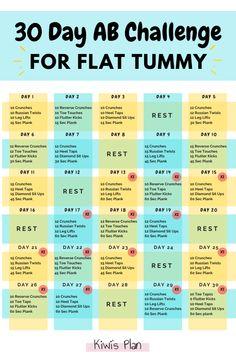 30 Day AB Challenge For a Flat Tummy - Kiwi's Plan