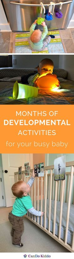 Creative play from an infant development expert and mom - plus explanations of your baby's development from sitting to walking and how each activity promotes baby milestones and learning. Click to learn more!