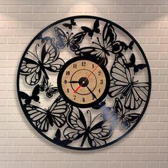 Clocks Butterfly Room Decorations Wall Clock Home Decor Vinyl Art Decal 459 & Garden 3d Wall Clock, Hanging Clock, Wall Clock Design, Clock Art, Music Clock, Vinyl Record Crafts, Vinyl Record Clock, Vinyl Records, Vinyl Art