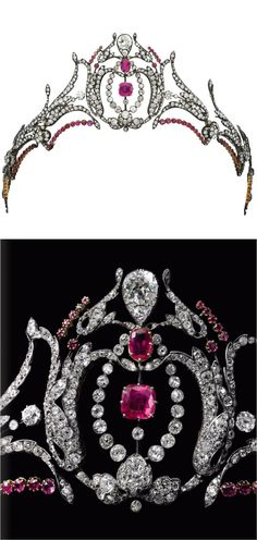 Mary Crewe-Milne's (Duchess of Roxburghe) ruby tiara, featuring some gorgeous Burmese rubies. Designed as a series of foliate sprays supporting a central diamond motif, with cushion cut and oval rubies and a large pear-shaped diamond. Sold by Sotheby's on 12 May 2015 for CHF100,000.