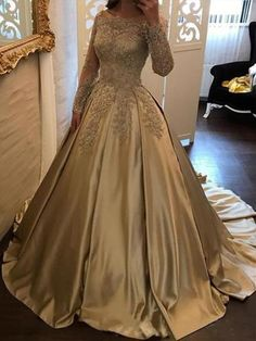 Ball Gown Long Sleeves Off-the-Shoulder Sweep/Brush Train Applique Satin Dresses - Prom Dresses - Hebeos Ball Gowns Evening, Ball Gowns Prom, Ball Gown Dresses, Satin Dresses, Evening Dresses, Sleeveless Dresses, 15 Dresses, Formal Dresses, Short Dresses