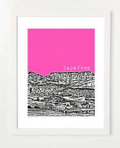 Cape Town, South Africa Poster - Skyline Art Print - City View - VERSION 2