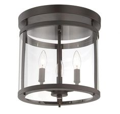 Savoy House 1JLWL - Three Light English Bronze Clear Glass Drum Shade Semi-Flush Mount • Annapolis Lighting (Hallway)