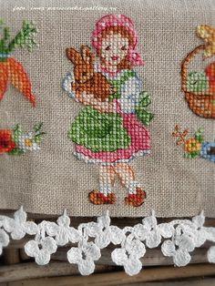 Girls holding a bunny cross stitch Cross Stitch Kitchen, Cross Stitch Bird, Cross Stitch Designs, Cross Stitching, Cross Stitch Patterns, Hand Embroidery Projects, Hand Embroidery Designs, Ribbon Embroidery, Cross Stitch Embroidery