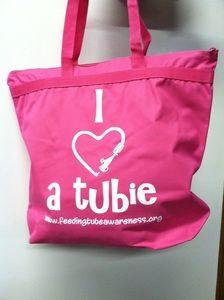 Feeding Tube Awareness Apparel — I Heart a Tubie Zippered Tote Bags